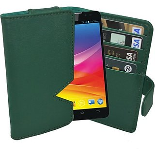 Totta Wallet Case Cover for Micromax Superfone A100 Canvas (Green)