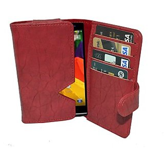 Totta Wallet Case Cover for XOLO A700s (Red)