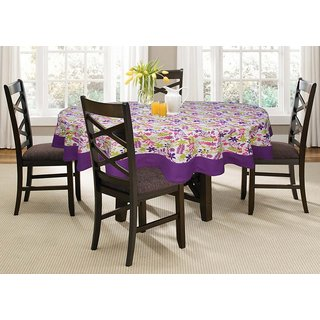 Lushomes 4 Seater Purple  Printed Round Table Cloth
