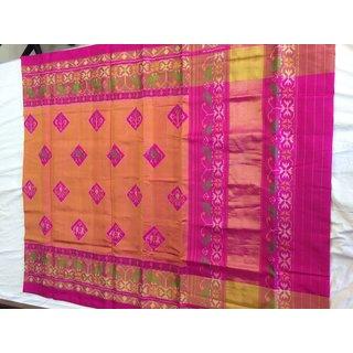 Rashvipatola Green Silk Self Design Saree With Blouse