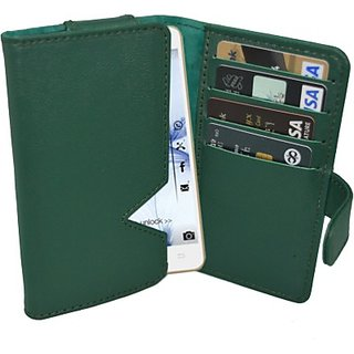 Totta Wallet Case Cover for Karbonn A11 (Green)