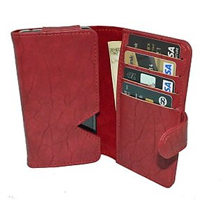 Totta Wallet Case Cover for Karbonn A6 (Red)
