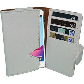 Totta Wallet Case Cover for Lava Iris 430 (White)