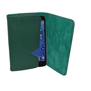 Totta Wallet Case Cover for Spice Stellar Nhance Mi 435 (Green) ACCE8UH6BRRWCRTJ