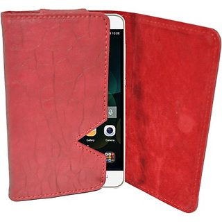 Totta Wallet Case Cover for Huawei Ascend G730 (Red)