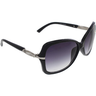 Vast UV Protection Crystal Womens Sunglasses (1435BK56Grey Lens )-WOMENS 1435STRIPESBLACK