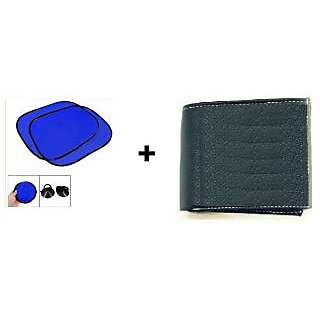 Buy Car Side Window Blue Sunshade 4 Pcs & Get A Free Black Wallet.