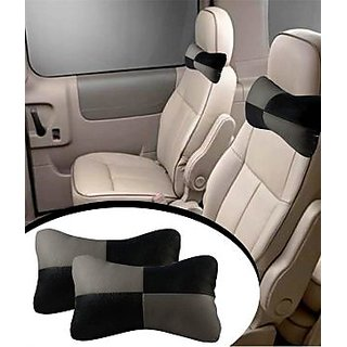 Takecare Car Seat Neck Cushion Pillow - Black And Grey Colour Formaruti Wagon R Old 2010-2015