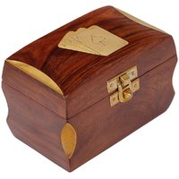 Craft Art India Handmade Wooden Double Playing Card Set Holder Box