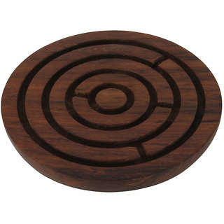 Craft Art India Brown Handcrafted Wooden Labyrinth Board Indoor Game Round (Diameter - 6 Inches) Cai-Hd-0032-B