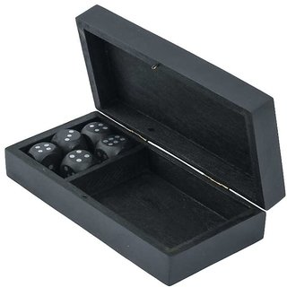Craft Art India Handmade Wooden Black Coloured Single Playing Card Box Wood And 5 Dice