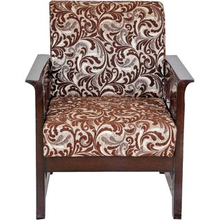 Karigar  Teak Wood Floral Fabric Sofa Set ( 3+1+1)