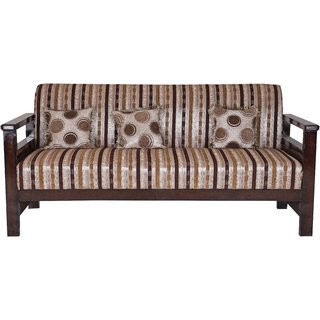 Karigar Teak Wood Three Seater Sofa With Cushions
