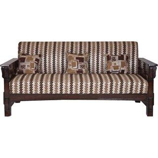Karigar Teak Wood Three Seater Sofa With Cushions