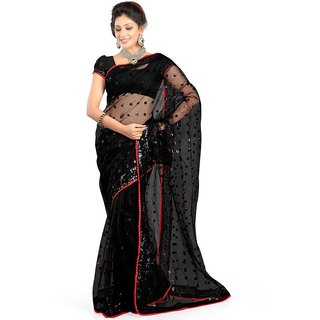 164995faf6f Buy Tiana Creation Black Net Embroidered Saree With Blouse Online ...