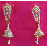 Real CZ Gold silver plating Diamond Finish Earring Imitation Jewellery