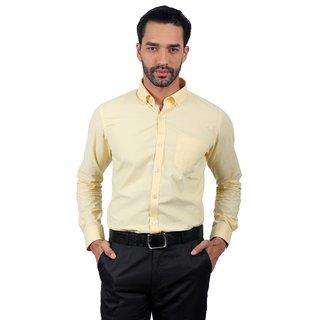 Solemio Yellow Cut Away Solid/Plain Formal Shirt For Men