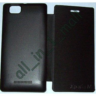 Black Flip Cover Case pouch for Sony Xperia M C1904/1905