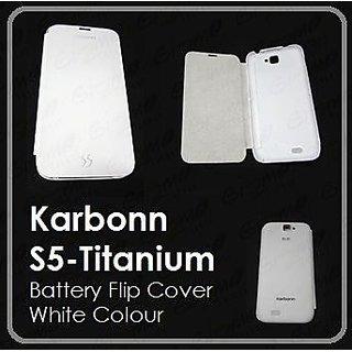 the latest b7228 06ce8 KARBON KARBONN Titanium S5 FLIP COVER CASE DIARY CASE BATTERY DETACHABLE  WHITE
