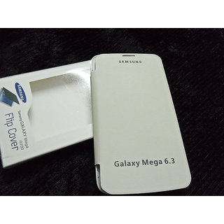SAMSUNG GALAXY MEGA 6.3 I9200 FLIP COVER CASE PURE LEATHER DIARY CASE WHITE