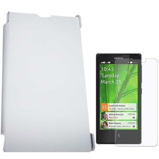 White Leather Flip Book Cover Case For Nokia X / Nokia RM-986 with Screen Guard