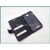 Micromax Canvas Viva A72 Faux Leather Caller ID Flip Case Cover - Black