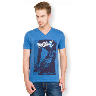 Locomotive Blue V-Neck Half Sleeve Mens T-Shirt