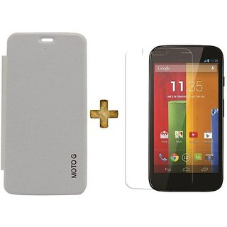 Original Flip Cover + Screen Guard For Moto G White