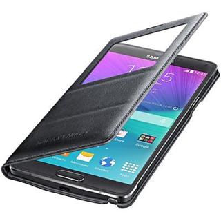 SAMSUNG GALAXY NOTE4 S- VIEW INTERACTIVE BLACK LEATHER FLIP COVER