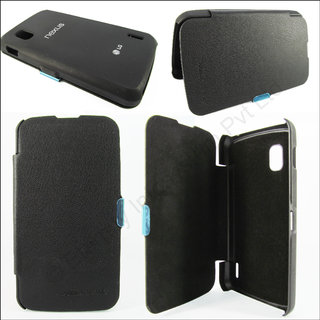 LG NEXUS 4 FLIP CASE COVER BLACK PREMIUM QUALITY