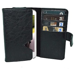 Totta Wallet Case Cover for Intex Aqua Curve Mini (Black)