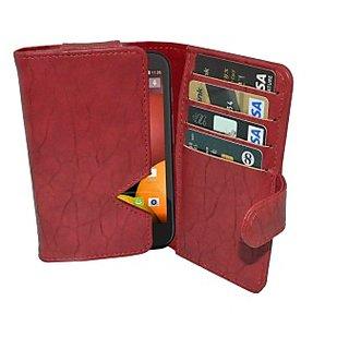 Totta Wallet Case Cover for Motorola Moto E (2nd Gen) (Red)