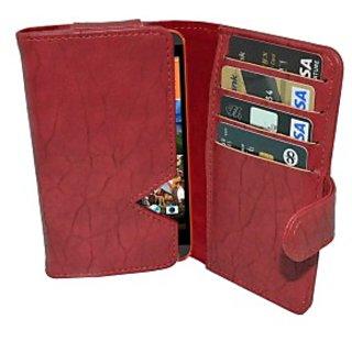 Totta Wallet Case Cover for Intex Aqua i7 (Red)