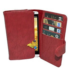 Totta Wallet Case Cover for Spice Stellar Horizon Mi 505 Pro (Red)