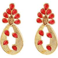 Kriaa Red Austrian Stone Meenakari Pearl Drop Gold Finish Dangle Earrings - 1307209B