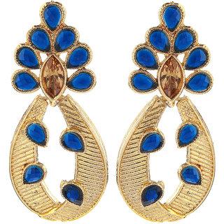 Kriaa Black Austrian Stone Pearl Drop Gold Finish Dangle Earrings - 1307209A