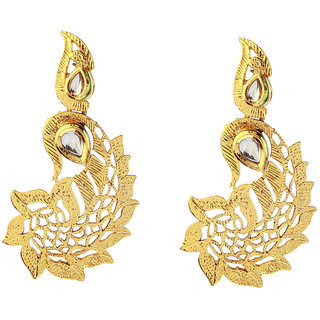 14Fashions  Gold Ethnic Drop Earrings-1307313