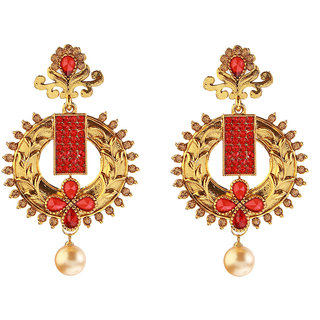 14Fashion red Gold finish Traditional earing-1307403C