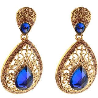 14Fashions Blue Ethnic Drop Earrings - 1307409B