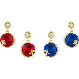 Shining Jewel Red, Blue Crystal  Dangle Earring Combo Gift  Pack of 2 (SJEC36)