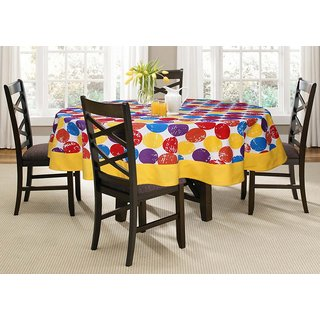 Lushomes 6 Seater Titac  Printed Round Table Cloth