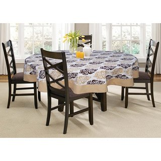 Lushomes 6 Seater Earth  Printed Round Table Cloth