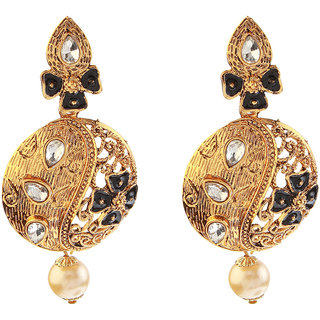 Kriaa Polki Black Meenakari Pearl Drop Gold Finish Dangle Earrings - 1307206B