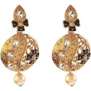 Kriaa Polki Black Meenakari Pearl Drop Gold Finish Dangle Earrings - 1307206B