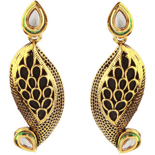 Kriaa Kundan Black Meenakari Gold Finish Dangle Earrings - 1307216