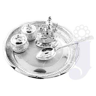 Silver Polished Pooja Thali