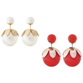 Shining Jewel Double Pearl Bauble Earring Combo Gift  Pack of 2 (SJEC15)