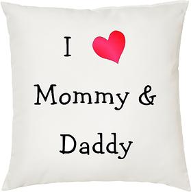 I Love Mom  Dad  ShopTwiz Printed Cushion Cover 12 Inch ( Cushion Included )