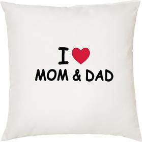 I Love My Dad  Mom  ShopTwiz Printed Cushion Cover 12 Inch ( Cushion Included )