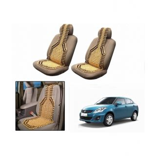 TAKECARE Beige Wooden Car Seat Beads Set Of 2 FOR MARUTI RITZ